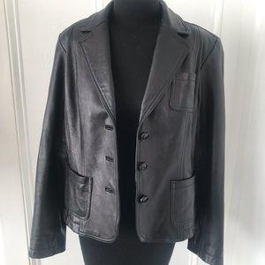 INC genuine black leather jacket blazer styling lg